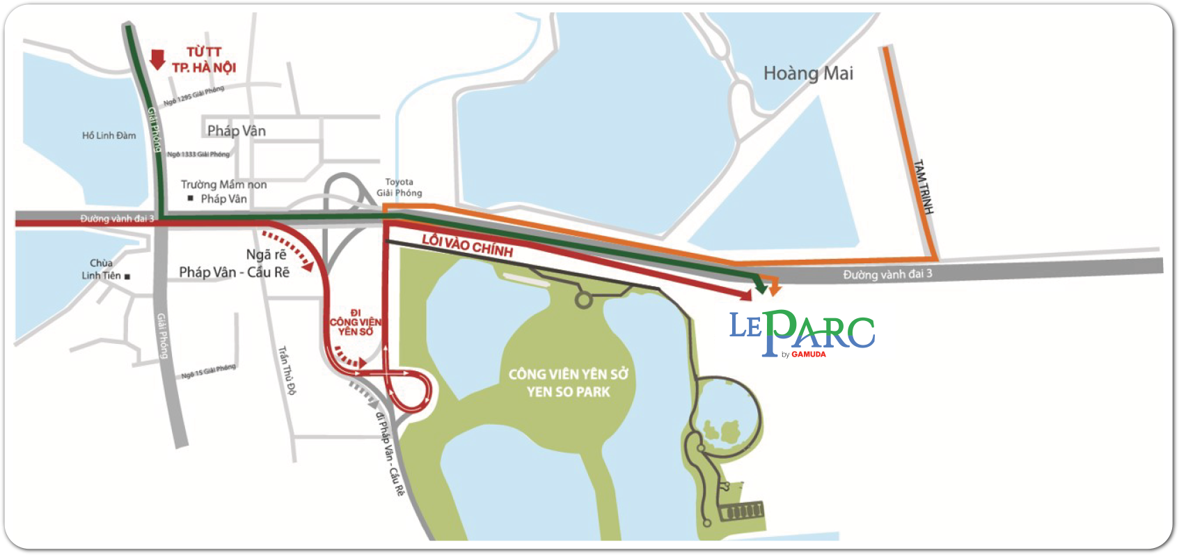 A map with the direction to LeParc